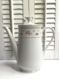 Vintage Tall White & Pink Teapot