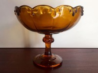Vintage Amber Glass Teardrop Compote