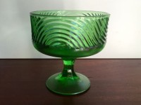 Vintage Art Deco Green Glass Compote