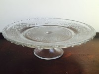 Vintage Beaded Glass Cake Stand
