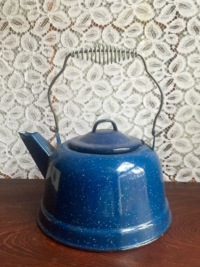 Vintage Blue Enameled Coffee Pot