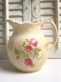 Vintage Cream Rose Ceramic Pitcher