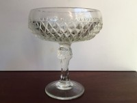 Vintage Diamond Point Glass Compote-3