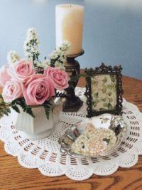 Centerpiece with Vintage Doily