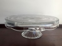 Vintage Edged Glass Cake Stand