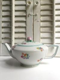 Vintage Green & Pink Floral Teapot