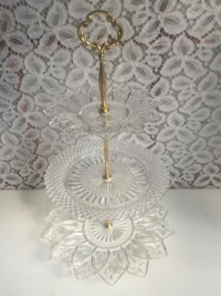 Vintage Glass Tiered Stand