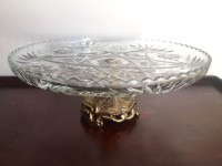 Gold Base Glass Cake Stand