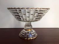 Vintage Gold Rimmed Glass Compote