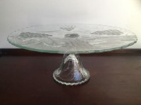 Vintage Grape Embossed Glass Cake Stand