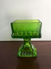 Vintage Green Glass Candy Dish