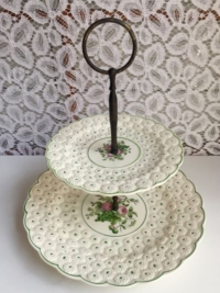 Vintage Green Polka Dotted Tiered Stand