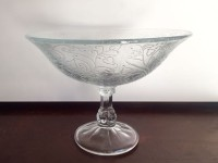 Vintage Heart Etched Glass Compote