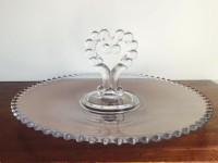 Vintage Clear Heart Handled Glass Tray