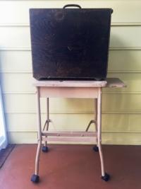 Vintage Projector Box on Vintage Typewriter Table