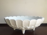 Vintage Large Toed Milk Glass Compote