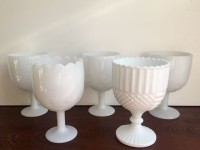 Vintage Large Vintage Milk Glass Goblets- 5