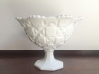 Vintage Quilted Milk Glass Compote