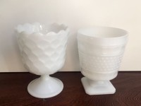 Vintage Milk Glass Compotes/Vases
