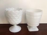 Vintage Milk Glass Compotes/Vases