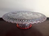 Vintage Pink Glass Cake Stand