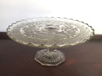 Small Vintage Scalloped Glass Cake Stand