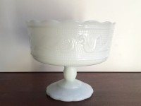 Vintage Scalloped Milk Glass Compote