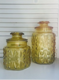 Vintage Amber Glsss Jars with Lids