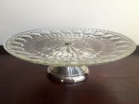 Silver Base Glass Cake Stand