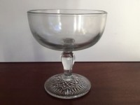 Vintage Small Glass Compote Diamond Stem