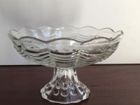 Vintage Small Scalloped Glass Compote