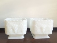 Vintage Square Milk Glass Compotes-2