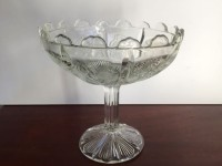 Vintage Thistle Scalloped Glass Compote