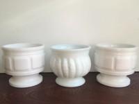 Three Vintage Milk Glass Compotes