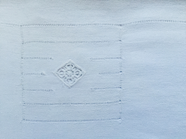 Cotton - White on White Embroidered Tablecloth
