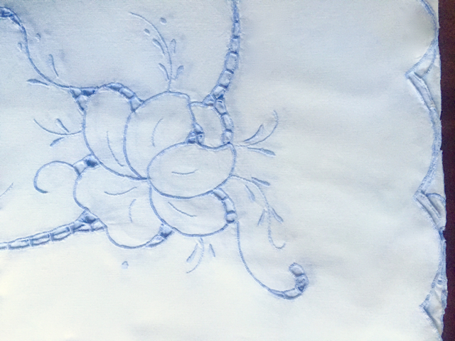 Cotton- White with Blue Embroidery Tablecloth