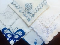 White with Blue Embroidery