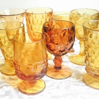 Vintage Amber Goblets