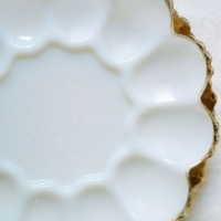 Vintage Milk Glass Deviled Egg
