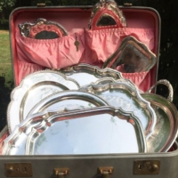 Vintage Silverplate Trays in Suitcase