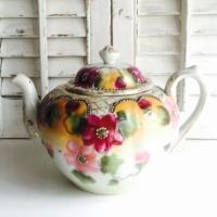Vintage Pink and Floral Teapot