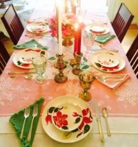Vintage Colored Napkins on Vintage Printed Tablecloth
