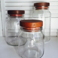 Vintage Canisters with Wooden Lids