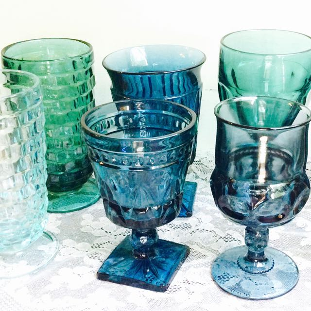 Vintage Drinkware Southern Table, Vintage Blue Glassware