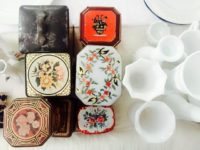 Vintage Tins and Milk Glass
