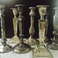 Vintage Tall Silverplate Candle Holders