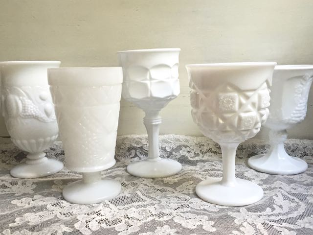 Vintage Milk Glass Goblets