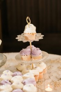 Wedding Dessert Table with Vintage Glass Tiered Stand