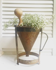 Vintage Kitchen Sieve with Flowers