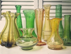 Vintage Green & Yellow Vases